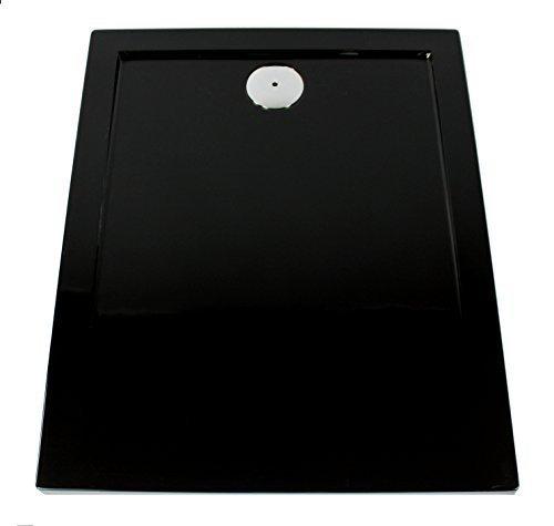Art of Baan-Extra flache Duschtasse, Duschwanne aus Acryl, Glatt Schwarz; 120x 80x 3,5cm inkl. Ablaufgarnitur