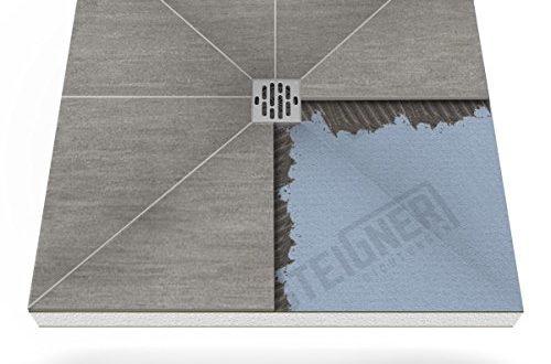 Duschelement MINERAL PLUS Duschboard befliesbar 90x120 cm Ablauf WAAGERECHT - EPS Bodenelement ebenerdig barrierefreie Duschwanne bodengleich
