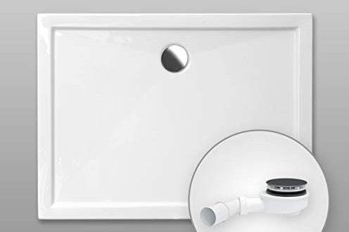 Duschwanne AQUABAD® Comfort SIMPLON rechteckig 80 x 120 cm Extraflache 496x330 - Duschwanne AQUABAD® Comfort SIMPLON rechteckig 80 x 120 cm, Extraflache Acryl-Duschtasse, Aufbau-Höhe: 5,5 cm, Ablaufgarnitur Trapflex extraflach